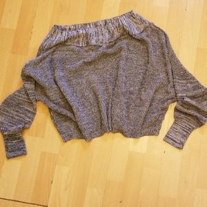 Free People Crop Sweater Boat Neck Gray L/S Sz S